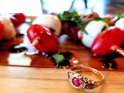 RARE 18k Victorian Natural NO Heat Ruby & Diamond Ring