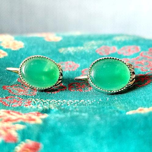 Vintage Green Stone Clip On Earrings