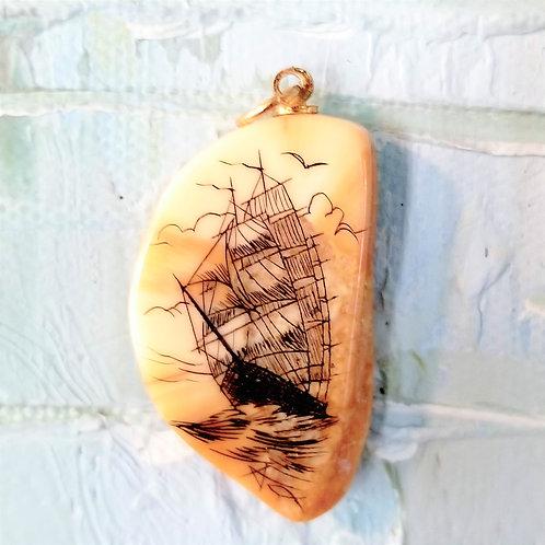 Hawaiian Sailing Ship Scrimshaw Pendant