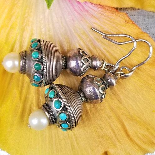 Vintage Persian Turquoise & Pearl Earrings