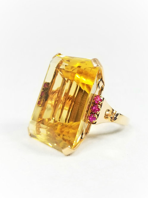 Retro 14k Rose Gold Citrine & Ruby Cocktail Ring