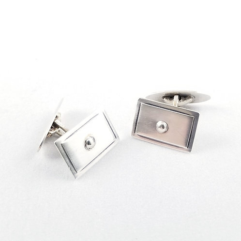 Art Deco Scandinavian Sterling Silver Cuff Links