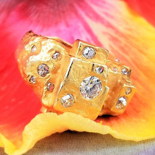 Vintage 14k Custom Diamond Ladies Nugget Ring