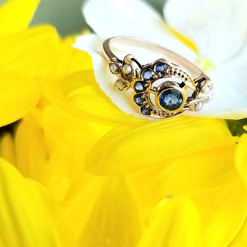 9k Art Nouveau Style Sapphire & Pearl Ring