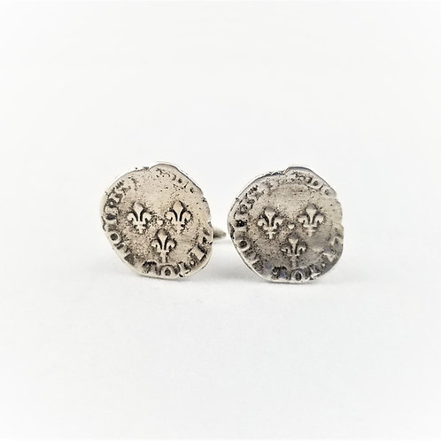 Fine Silver Antique French Coin Cuff Links