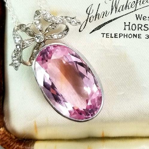 Art Deco Platinum Morganite & Diamond Pendant