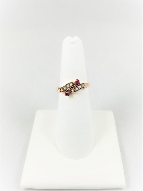9k Victorian Ruby & Seed Pearl Double Snake Head Ring