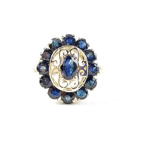 Vintage 14k Sapphire Filigree Cluster Ring