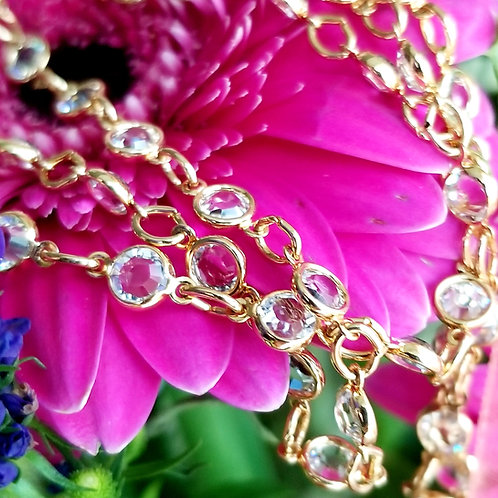 Gold Tone Crystal Stack Necklace