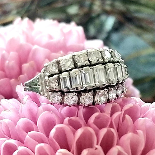 Mid Centrury 14k Diamond Cocktail Ring