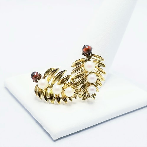 14k Leaf Design Garnet and Pearl Earrings