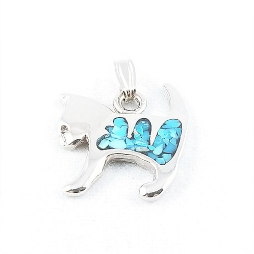 Silver Plate Turquoise Cat Charm / Pendant
