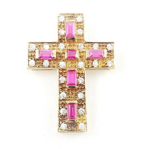 Sterling Gold Plate Crystal Cross Slider Pendant