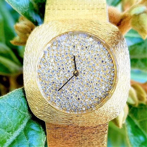 18k Vintage 1970's Omega Diamond Face Wrist Watch