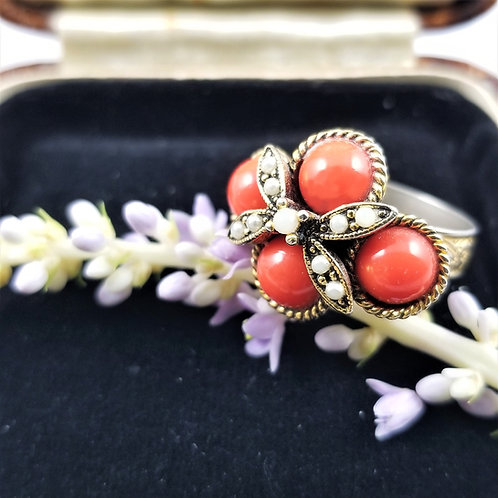 Vintage Gold Tone Faux Coral and Pearl Adjustable Ring