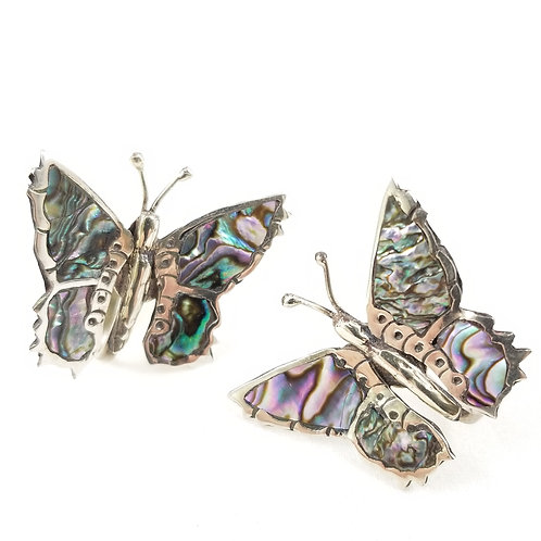 Vintage Abalone & Sterling Butterfly Earrings