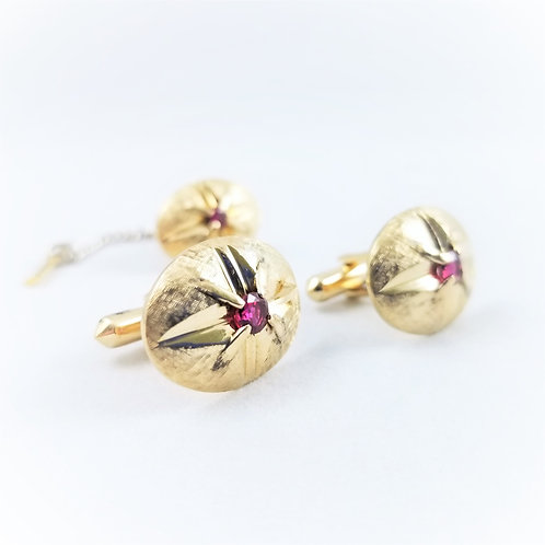 14k Lab Created Ruby Cuff Links and Tie Pin Set