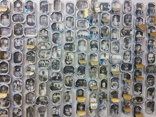 """Youthful Commodities,"" mixed media (encaustic image transfer, sardine tins), 36 x 58"", $10,000"