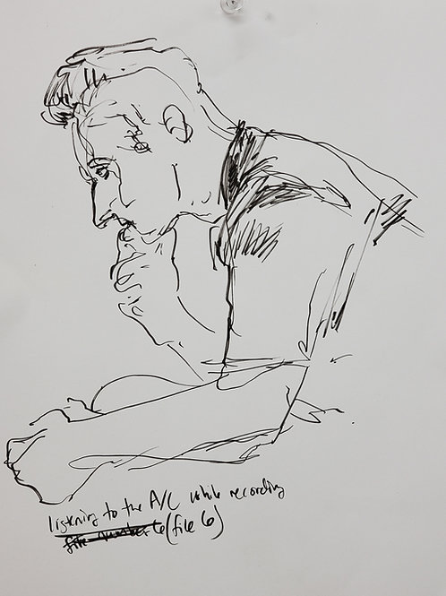 """Caleb Harman:  """"Zach Listening to Recording 6 (Drawn in the Sallie House) """""""