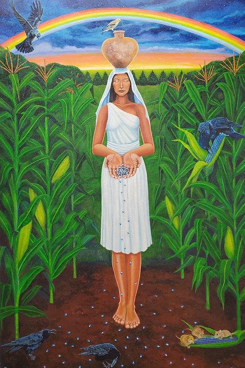 "Phillip Pursel: ""Corn Maiden"", (signed print)"