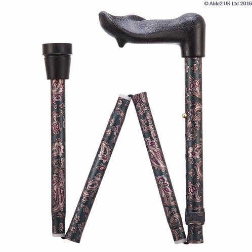 "Arthritis Grip Cane - Folding, adjustable, Right Handed - Paisley (33-37"")"