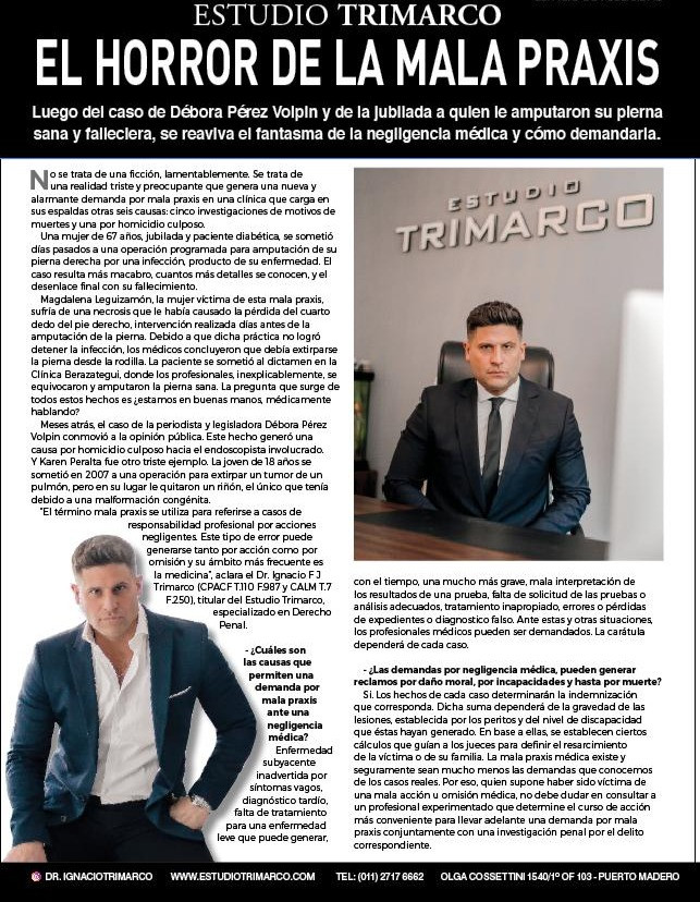 Nota en revista caras al abogado Ignacio trimarco