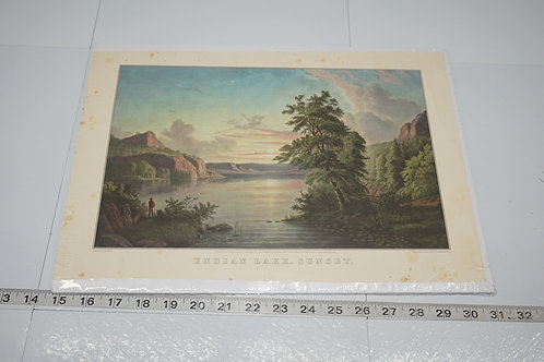Early 1900s Print - Indian Lake Sunset