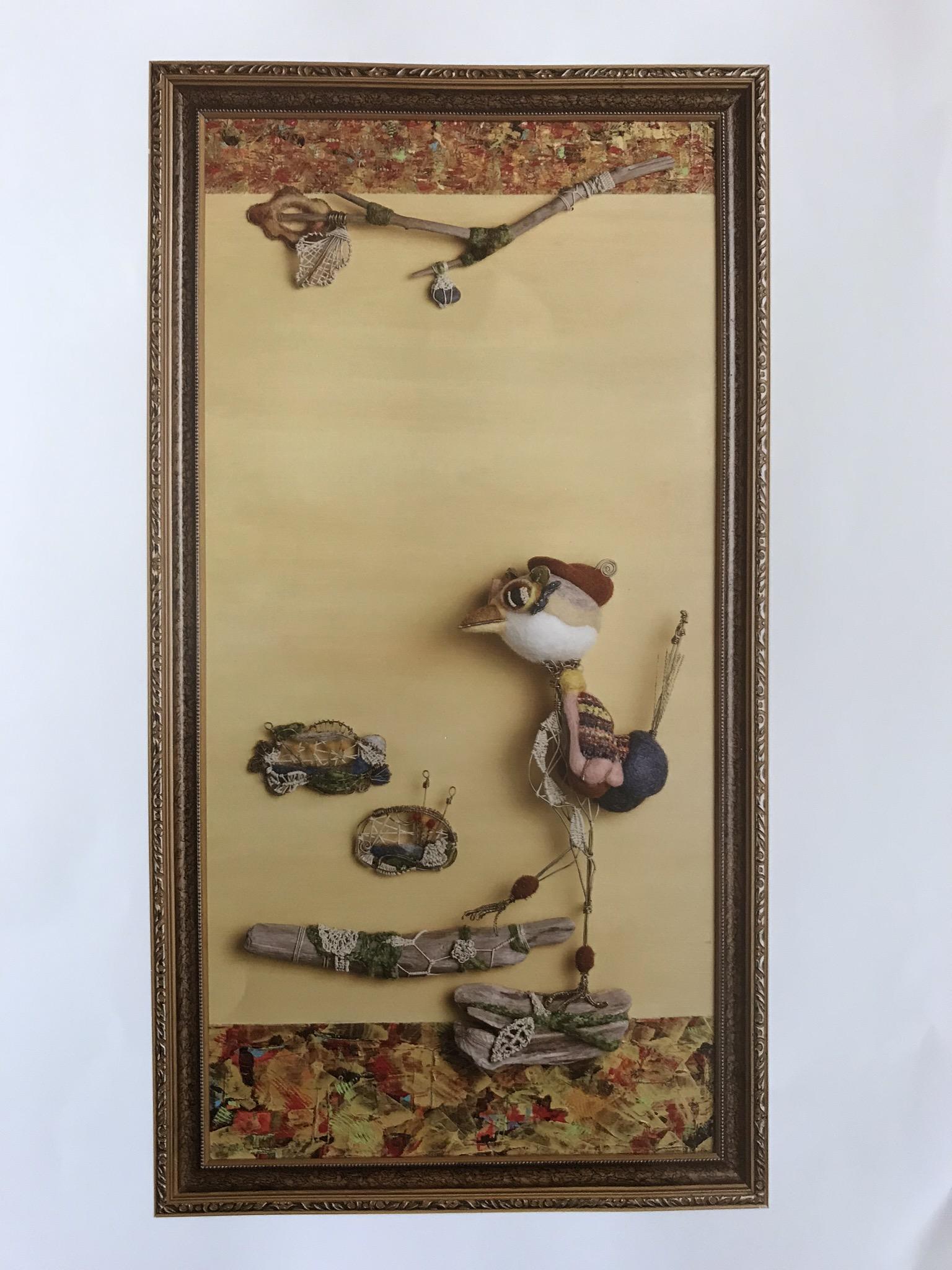 真鍮とフェルトによる絵画アート
