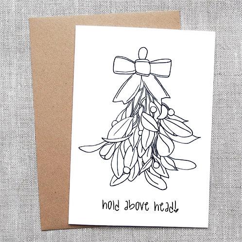 hold above head (mistletoe) - Holiday / Christmas Card