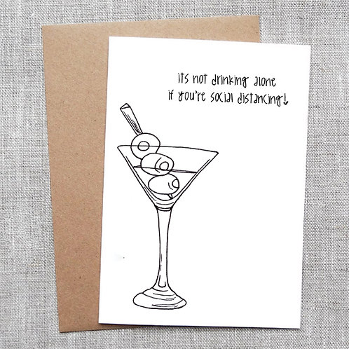 drinking alone - COVID 19 Card