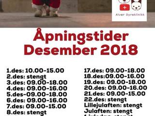 Åpningstider i julen