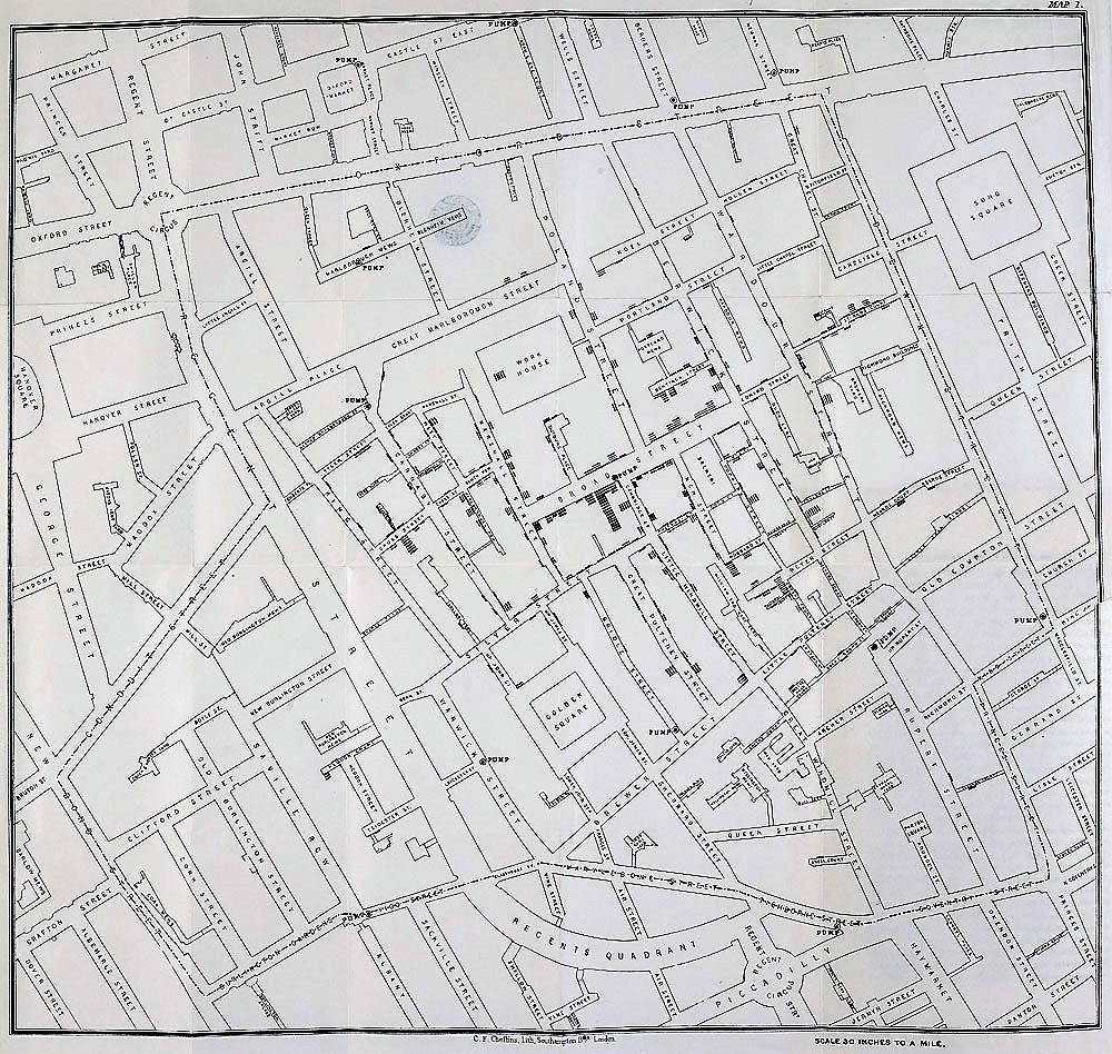 המפה שהכין ג'ון סנואו, בשחור מקרי מוות מכולרה. מקור: British Library