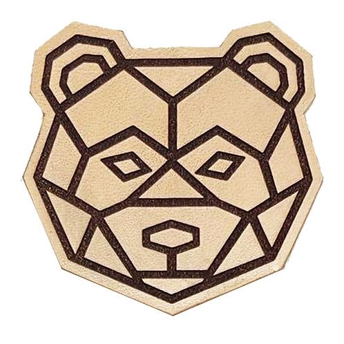 BEAR FACE OUTLINE ON LEATHER / TTC