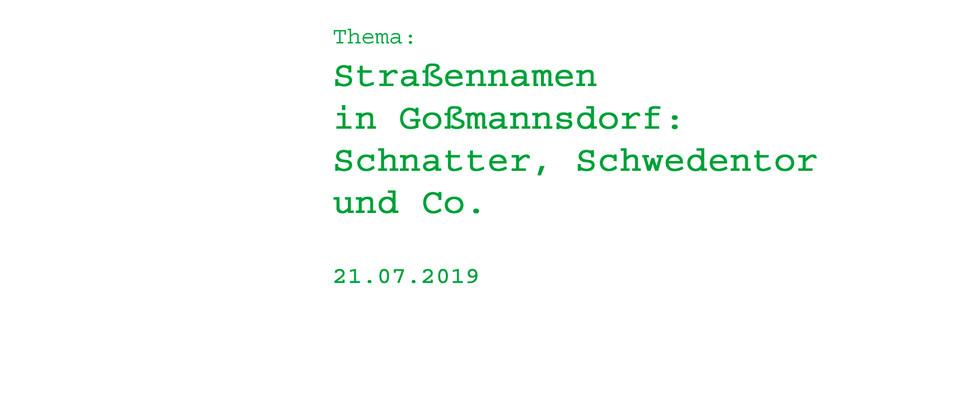 Straßennamen in Goßmannsdorf