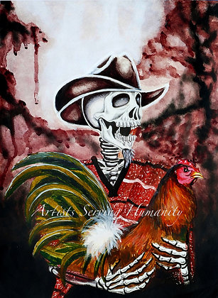 Zarape - Skeleton with Rooster