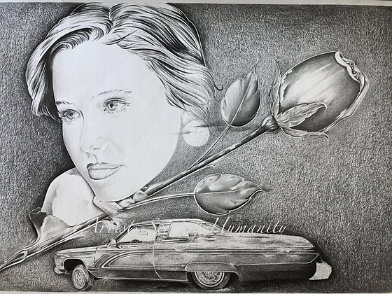Woman with Car and Flower