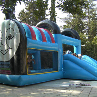 A giant inflatable, over-sized Velcro wall. Participants step into a multi-colored, striped sticky suit, which has corresponding Velcro straps, and sprint down the runway. After they get some air with a good bounce and stick to the velcro wall! 4m W x 5m L x 3.5m H