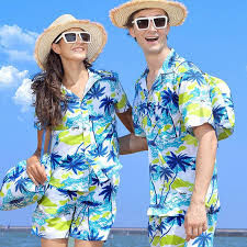 Couple with Matching Hawaiian Outfits.jf