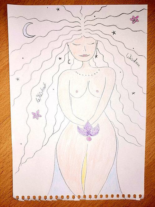 Göttin der Weisheit und des weiß violett blauen Strahls