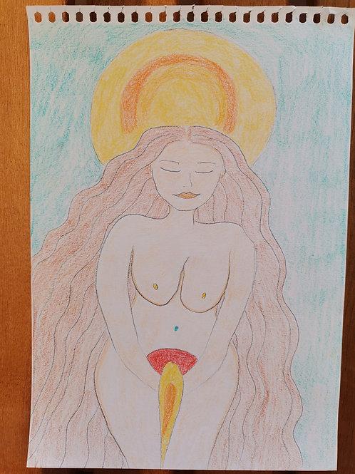 Sonnenfülle Göttin Weiblichkeits Kunst
