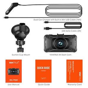 Vantrue X4 Dash Cam UHD 4K 3840X2160P @3