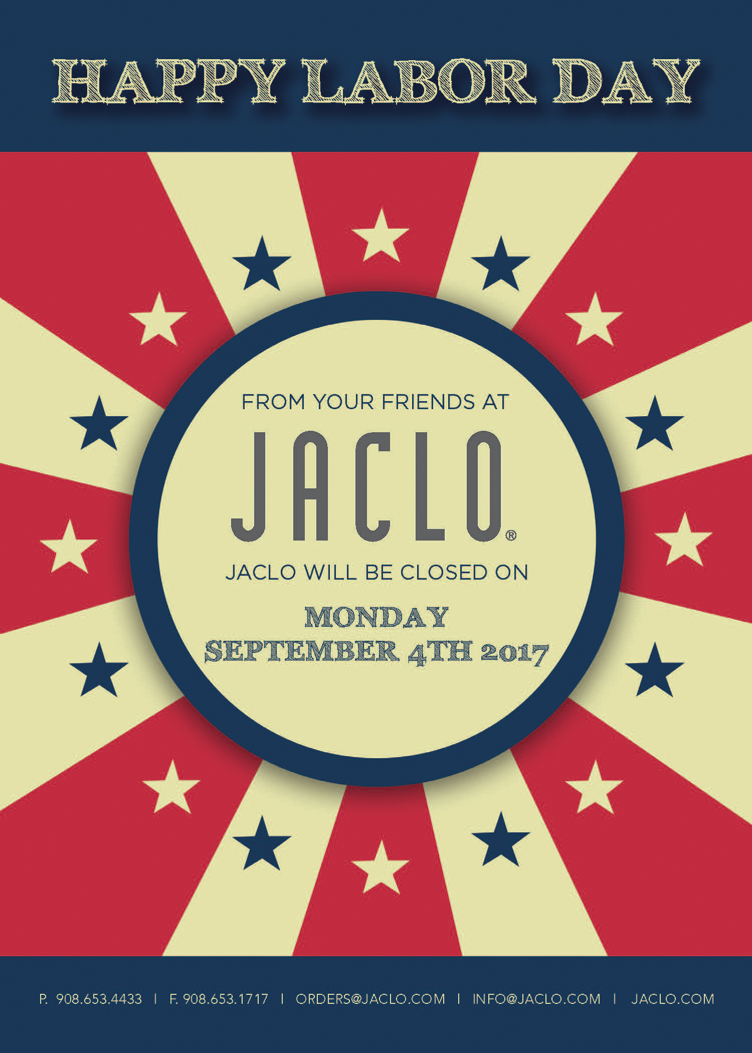 Jaclo Labor Day Statement