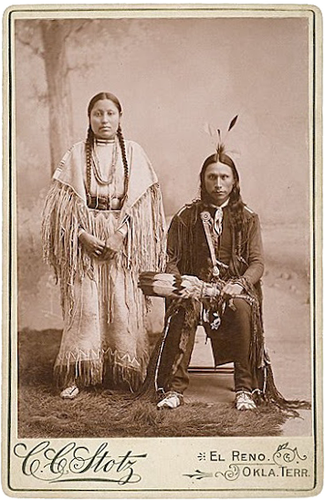 Arapaho couple in traditional dress
