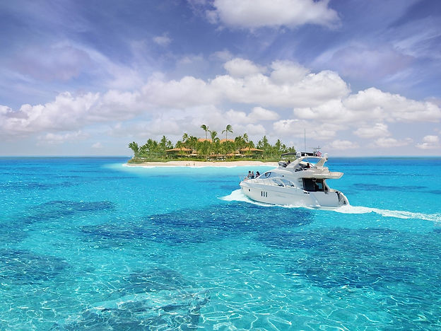 Caribbean Bahamas paradise with yacht (1