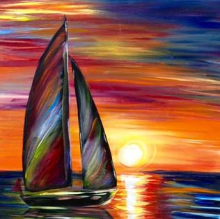 Rainbow Sailboat