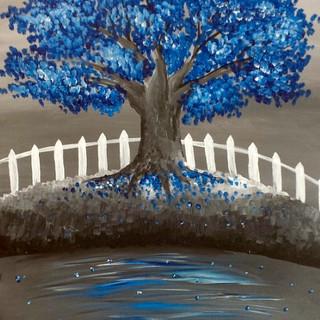 Blue Tree & Fence