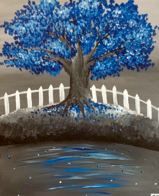 Blue Tree & Fence