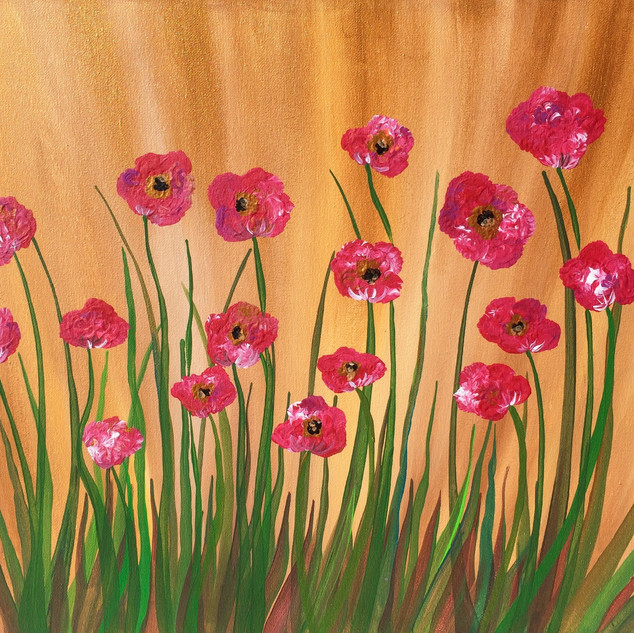 Gold & Pink Poppies