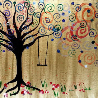 Golden Tree Dots & Swirls
