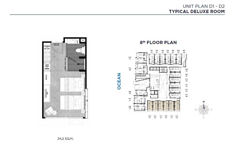 Unit Plan D1-D2 (Typical Deluxe Room)